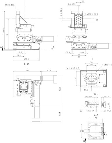 F-122.5DC, dimensions in mm. Note that the decimal points are separated by a comma in the drawings.