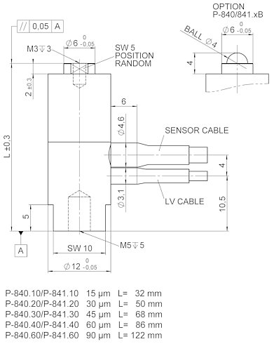 [Translate to Chinese:] P-840 / P-841, dimensions in mm. Sensor included only with P-841.