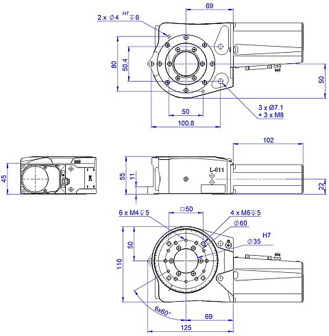 [Translate to Chinese:] L-611 with ActiveDrive, DC, and BLDC motor, dimensions in mm
