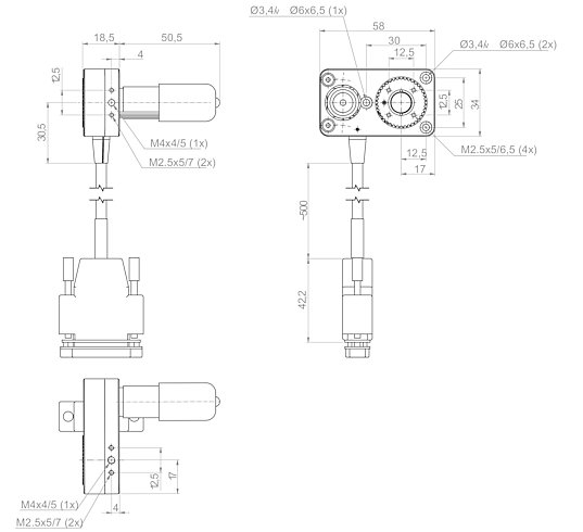 [Translate to Chinese:] DT-34 with DC motor, dimensions in mm