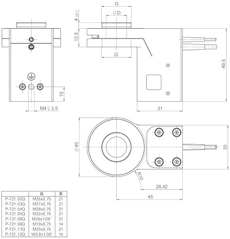 P-721.xxQ, P-721.SL2, dimensions in mm (please order adapter set separately)
