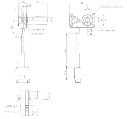 [Translate to Chinese:] DT-34 with stepper motor, dimensions in mm
