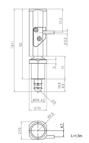 [Translate to Chinese:] N-412.51, dimensions in mm. Version for mounting on the front via the M10 threaded flange