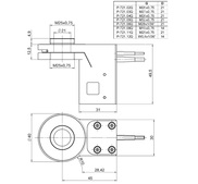 [Translate to Chinese:] PI PD72Z1x Drawing, PD72Z1xAQ with M25-QuickLock adapter, dimensions in mm